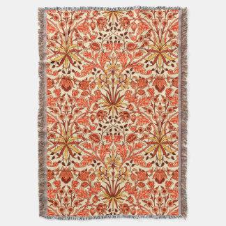 William Morris Hyacinth Print, Orange and Rust Throw Blanket