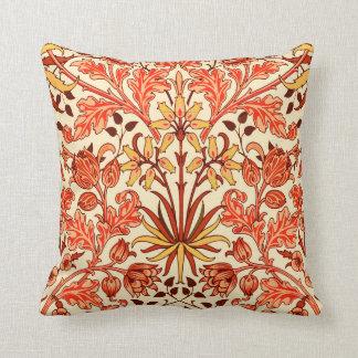William Morris Hyacinth Print, Orange and Rust Throw Pillow
