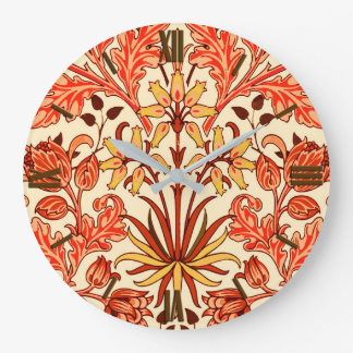 William Morris Hyacinth Print, Orange and Rust Wallclock