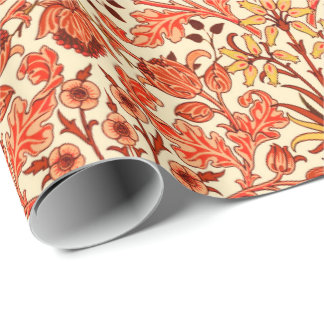 William Morris Hyacinth Print, Orange and Rust Wrapping Paper