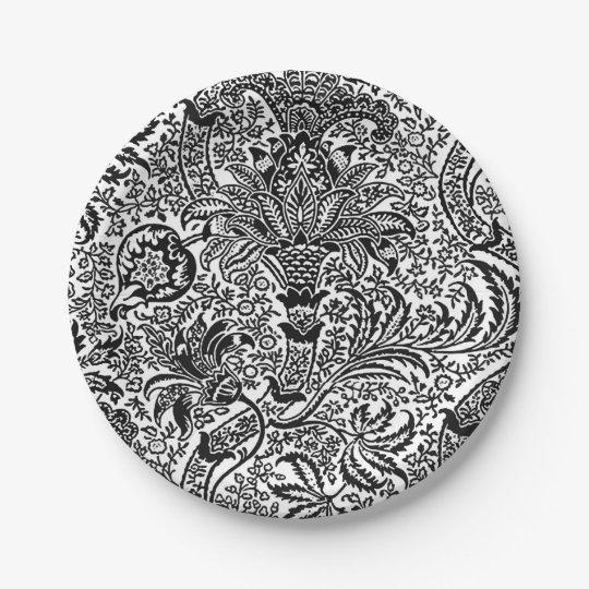William Morris Indian, Black and White 7 Inch Paper Plate