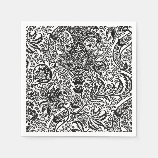William Morris Indian, Black and White Paper Napkins