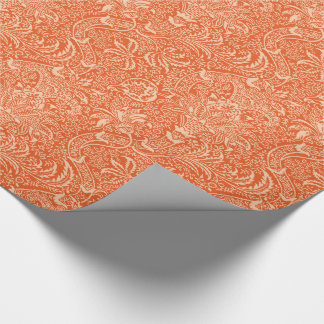 William Morris Indian, Coral Orange and Peach Wrapping Paper