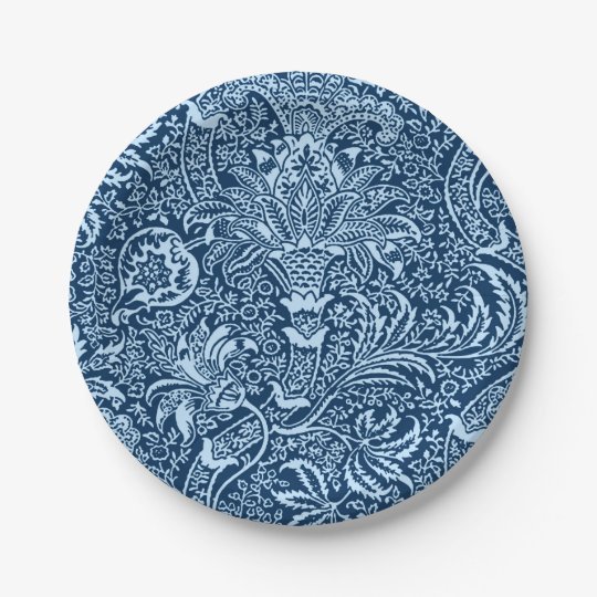 William Morris Indian, Dark Indigo and Sky Blue 7 Inch Paper Plate
