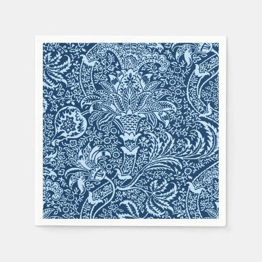 William Morris Indian, Dark Indigo and Sky Blue Paper Napkin