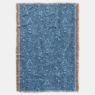 William Morris Indian, Dark Indigo and Sky Blue Throw Blanket