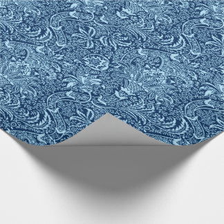 William Morris Indian, Dark Indigo and Sky Blue Wrapping Paper