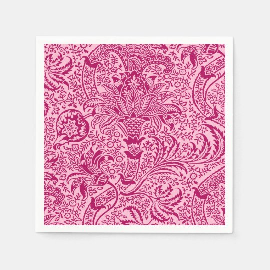 William Morris Indian, Fuchsia and Pastel Pink Disposable Napkin