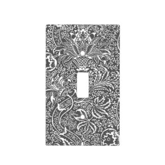 William Morris Indian, Graphite Gray and White Light Switch Cover
