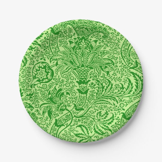 William Morris Indian, Lime and Kiwi Green 7 Inch Paper Plate
