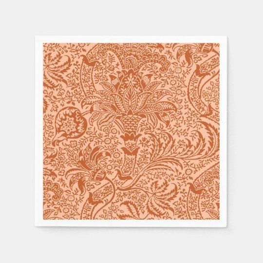 William Morris Indian, Peach and Coral Orange Paper Napkin
