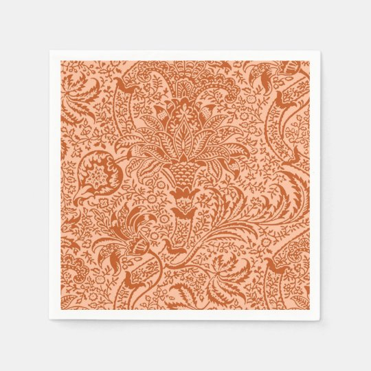 William Morris Indian, Peach and Coral Orange Paper Napkins