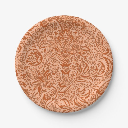 William Morris Indian, Peach and Coral Orange Paper Plate