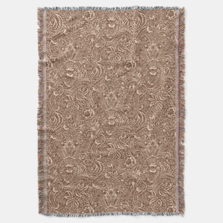 William Morris Indian, Taupe Tan and Beige Throw Blanket