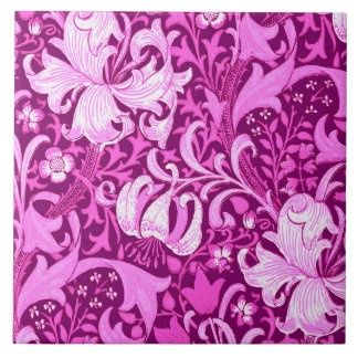 William Morris Iris and Lily, Amethyst Purple Tile