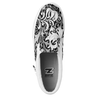 William Morris Iris and Lily, Black and White Slip-On Sneakers