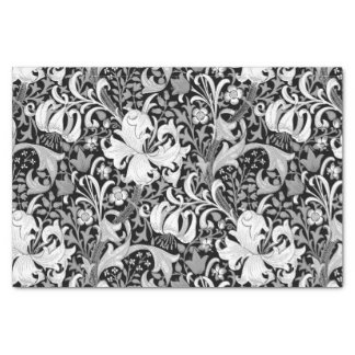 William Morris Iris and Lily, Black and White Tissue Paper