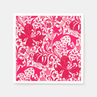 William Morris Iris and Lily, Fuchsia Pink Disposable Napkins