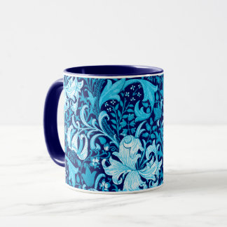 William Morris Iris and Lily, Indigo Blue Mug