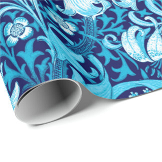 William Morris Iris and Lily, Indigo Blue Wrapping Paper