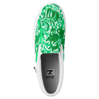William Morris Iris and Lily, Jade Green Slip-On Sneakers