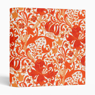 William Morris Iris and Lily, Mandarin Orange 3 Ring Binders