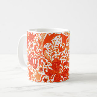 William Morris Iris and Lily, Mandarin Orange Coffee Mug