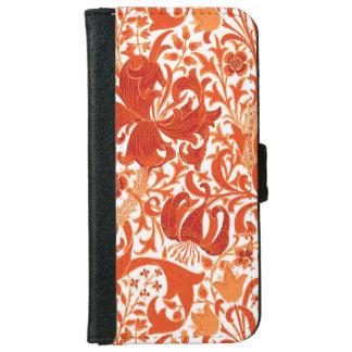 William Morris Iris and Lily, Mandarin Orange iPhone 6 Wallet Case