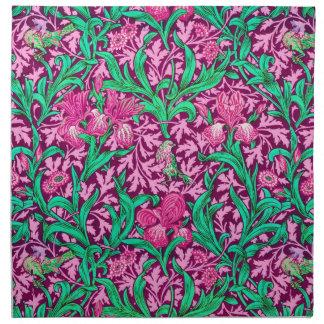 William Morris Iris Pattern, Fuchsia Pink and Wine Napkin