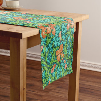 William Morris Iris Pattern, Orange and Turquoise Short Table Runner