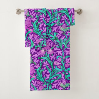 William Morris Irises, Amethyst Purple Bath Towel Set