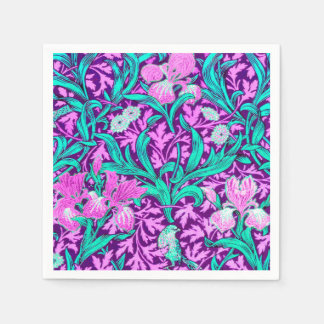 William Morris Irises, Amethyst Purple Paper Napkin