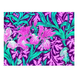 William Morris Irises, Amethyst Purple Postcard