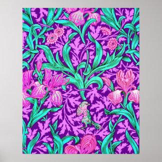 William Morris Irises, Amethyst Purple Poster