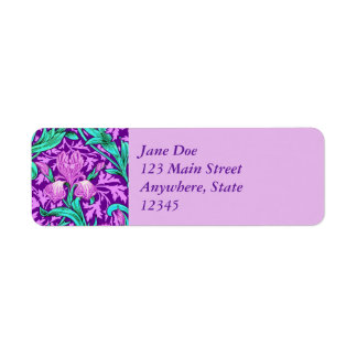 William Morris Irises, Amethyst Purple Return Address Label