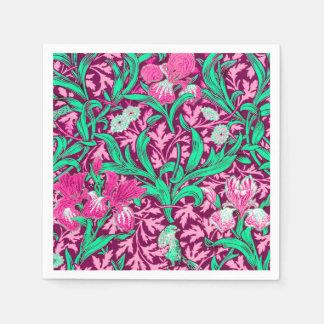 William Morris Irises, Fuchsia Pink and Wine Paper Napkin