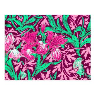 William Morris Irises, Fuchsia Pink and Wine Postcard