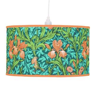William Morris Irises, Orange and Turquoise Pendant Lamp