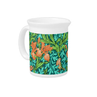 William Morris Irises, Orange and Turquoise Pitcher
