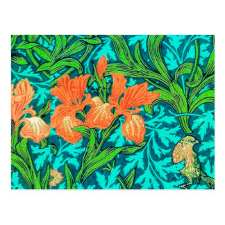 William Morris Irises, Orange and Turquoise Postcard
