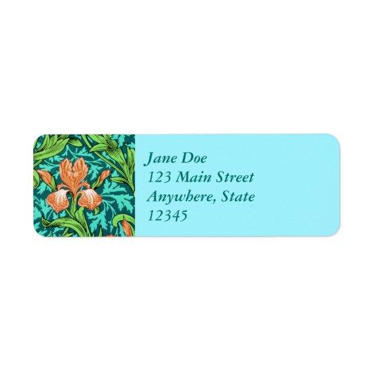 William Morris Irises, Orange and Turquoise Return Address Label