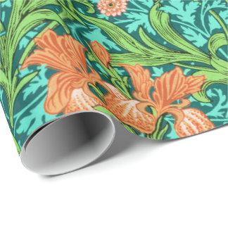 William Morris Irises, Orange and Turquoise Wrapping Paper