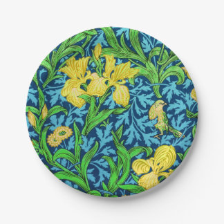 William Morris Irises, Yellow and Cobalt Blue 7 Inch Paper Plate