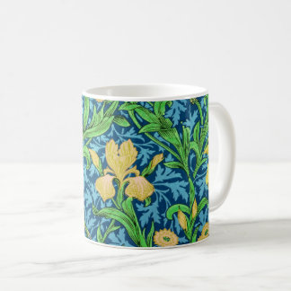 William Morris Irises, Yellow and Cobalt Blue Coffee Mug