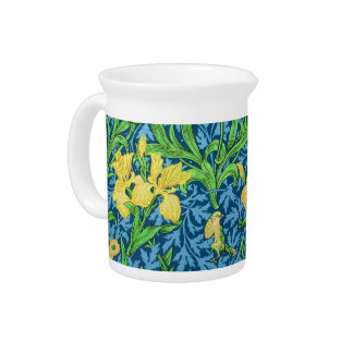 William Morris Irises, Yellow and Cobalt Blue Pitcher