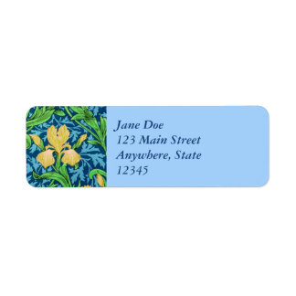 William Morris Irises, Yellow and Cobalt Blue Return Address Label