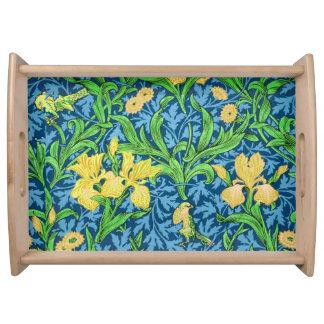 William Morris Irises, Yellow and Cobalt Blue Serving Tray