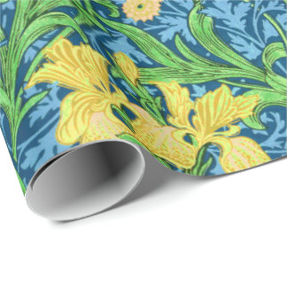 William Morris Irises, Yellow and Cobalt Blue Wrapping Paper