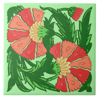 William Morris Jacobean, Coral Orange and Green Tile