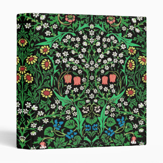 William Morris Jacobean Floral, Black Background 3 Ring Binder